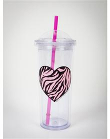 Zebra Heart Domed Cup with Straw